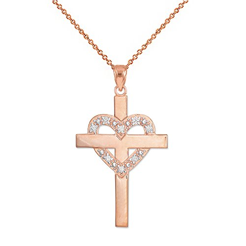(Solid 14k Rose Gold Diamond-Studded Heart Cross Pendant Necklace, 18