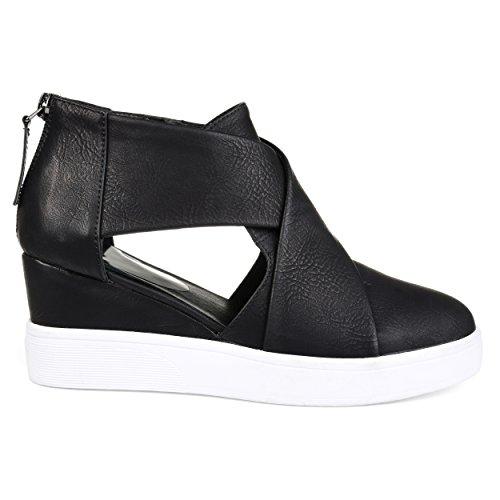 Brinley Co. Womens SEB Athleisure D'orsays Criss-Cross Sneaker Wedges Black, 8.5 Regular US