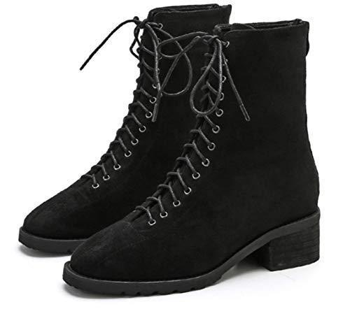 Shiney Shiney Shiney 2018 Martin Wind Color Thick Matte Femminile Autumn Stivali Donna Solid da New British Shoes Black Bottom Winter Ftq6xFWrwH
