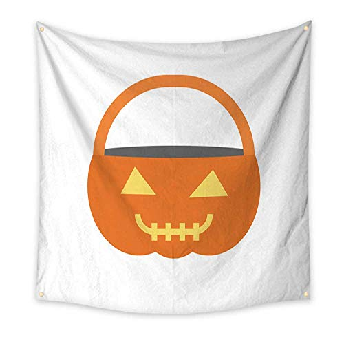 BlountDecor Simple Tapestry Flat Design Halloween Pumpkin Basket 63W x 63L Inch