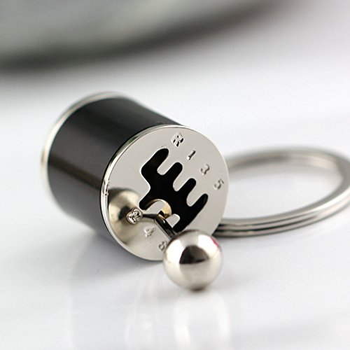 Maycom Creative Auto Part Model Six-speed Manual Transmission Shift Lever Keychain Keyring Key Chain Ring Keyrings Keyfob (Black)
