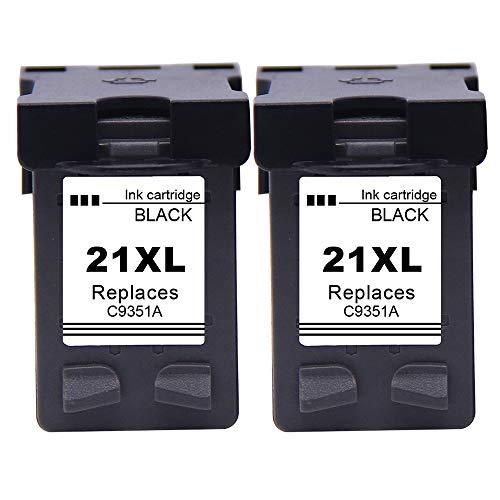 Ksera Remanufacturado HP 21XL 22XL HP 21 22 Cartucho de Tinta de Alto Rendimiento Paquete de 3(2 Negro, 1 Tricolor) C9351A / C9352A para HP Deskjet ...