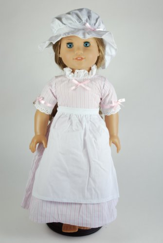 Unique Doll Clothing Colonial Pink Striped Dress for 18 Inch Dolls Including The American Girl Line]()