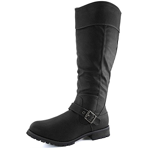 DailyShoes Women's Knee High Ankle Buckle Strap Military Combat Boots, 8 B(M) US Black PU
