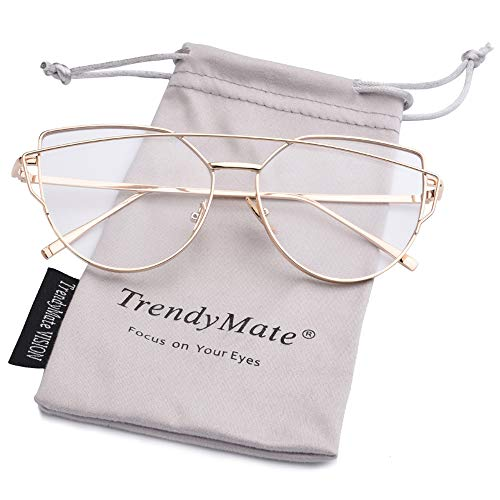 TrendyMate-Womens Street Fashion Metal Twin Beam Flat Mirror Lens Cat Eye Sunglasses … (Gold/Transparent, 57mm)
