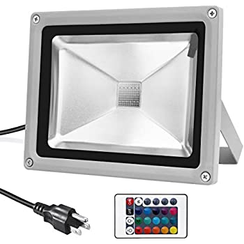 Warmoon Outdoor LED Flood Light 20W RGB Color Changing Waterproof Wall Security Spotlights with US 3-Plug & Remote Control