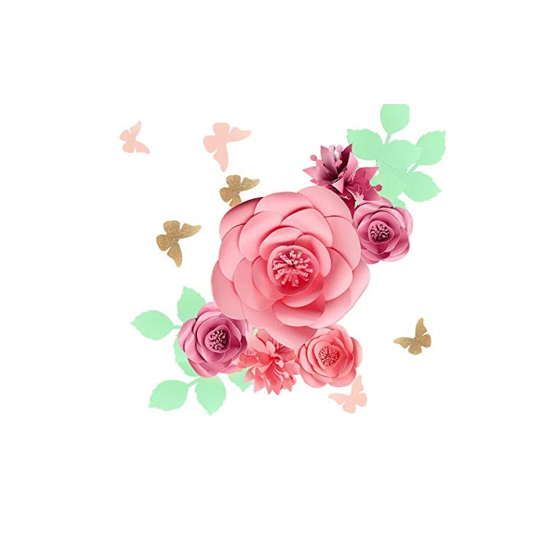 silk flower arrangements fonder mols 3d paper flowers backdrop (rose pink, set of 16), baby girl nursery paper flower wall decor, nursery decor, wedding centerpiece