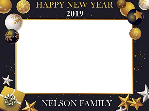 amazoncom new year 2019 party photobooth frame happy new year eves party theme with gifts and ornaments photo prop holiday photo booth selfie frame sizes