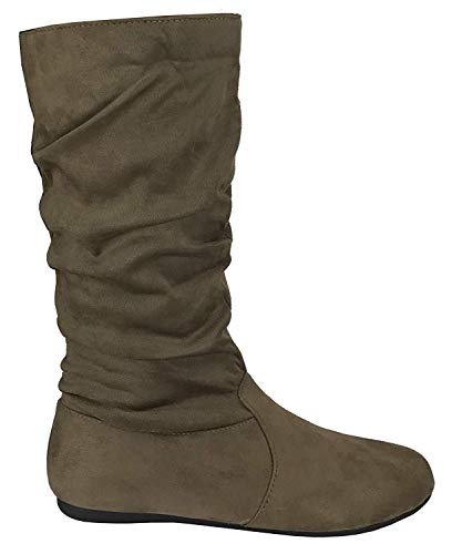 TOP Moda Women's Round Toe Slouchy Boot with Buckle (8, Premium New Taupe Faux Suede)