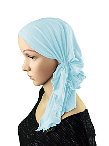 Price comparison product image Luxurious Bamboo Pre Tied Fitted Chemo Cancer / Tichel / Head Scarf / Bandana (Baby Blue)