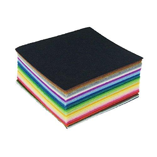 42pcs 펠트 원단 시트 4 x 4 모듬 색상 DIY 공예 사각형 짠 것이 아..