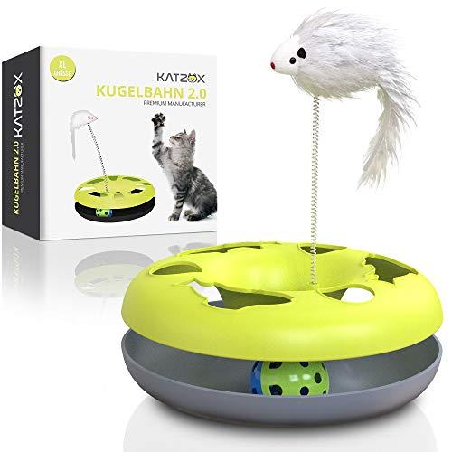 KATZOX© Premium Katzenspielzeug Verbessertes Konzept 2020 – Innovative Katzen Spielezeug Zubehör – Katze Spielzeug…