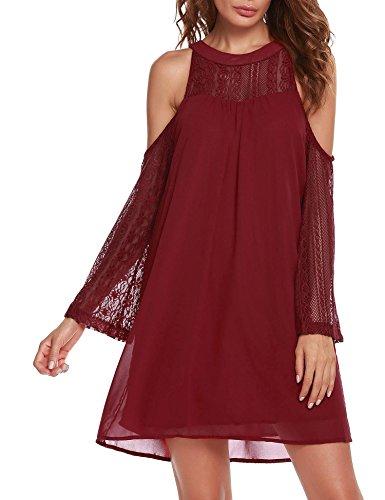 ACEVOG Womens Cold Shoulder Hollow Lace Long Sleeve Patchwork Top Shirt Dress Chiffon Dress Wine ()