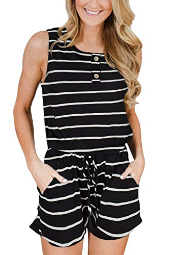 For G and PL Womens Casual Sleeveless Pocket Romper Summer Loose High Waisted Short Jumper Stripe XL
