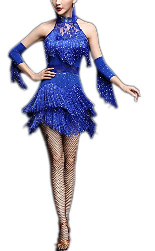 Beaded Lace Tassel Halter Tango Gatsby Dance Halloween Costume Dress Styles Blue, Blue, 4