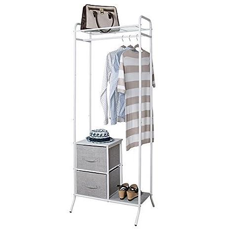 mDesign Organizadores de armarios con barra para colgar ropa - Sirve como armario abierto o como interior ...