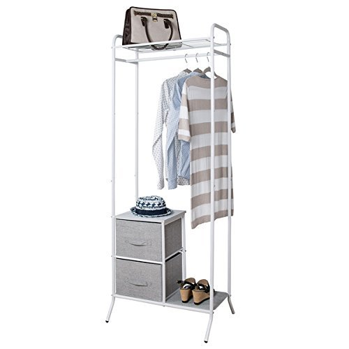 mDesign Fabric 2-Drawer Garment Storage Organizer Rack for Bedroom, Nursery, Closet - Gray