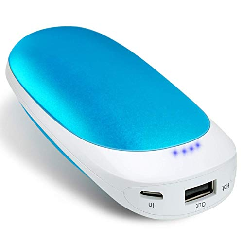 USB Rechargeable Electric Hand Warmer 5200mAh,Vshow Baby Dolphin Pocket Portable Warmer Double-Side Heat and Emergency Phone Charger - Blue