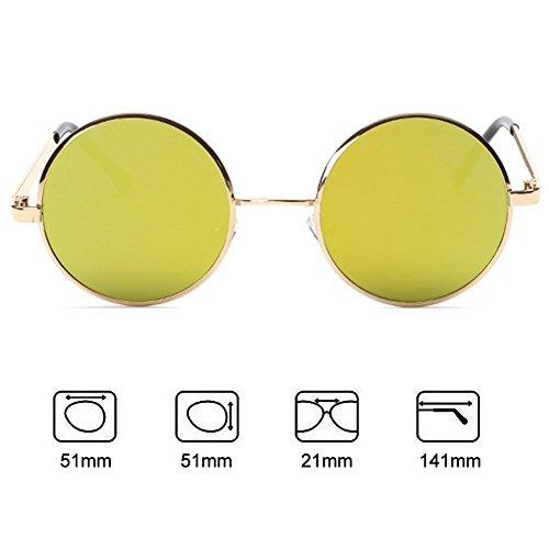 Redondas Lentes Gafas Vintage Sol Oro Hombres De Retro Amarillo Mujeres Metal De Espejo Marcos Highdas SawIUPqP