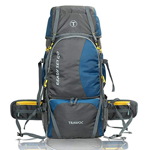 TRAWOC 60 Ltr Trekking Rucksack Travel Bag Hiking Backback, English Blue (1 YEAR WARRANTY)