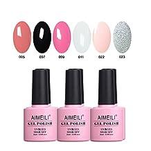 AIMEILI Soak Off UV LED Gel Nail Polish Multicolor / Mix Color / Combo Color Set Of 6pcs X 10ml - Kit Set 1
