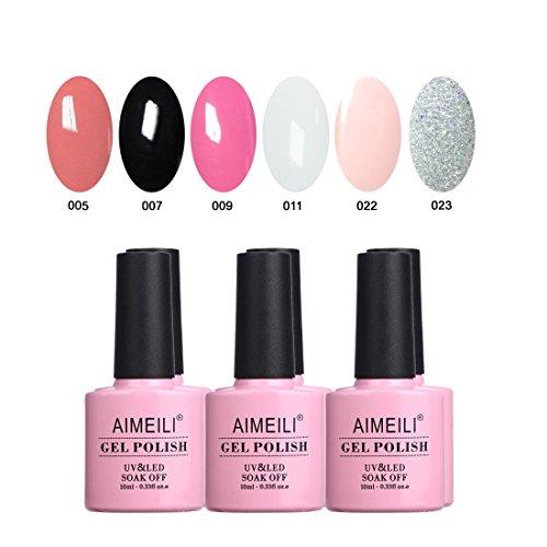AIMEILI Gel Nail Polish Soak Off UV LED Gel Nail Lacquer Combo Color Set Of 6pcs X 10ml - Kit Set 1 ()