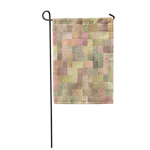 Semtomn Garden Flag 12x18 Inches Print On Two Side Polyester Brown Quilt Multicolor Patchwork Pattern Rustic Home Yard Farm Fade Resistant Outdoor House Decor Flag