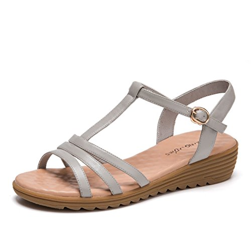 Summer Dew Toe Ronda De Cabeza Y Sandalias/Hebilla De Una Palabra Con Las Sandalias Simples Del Color Puro C