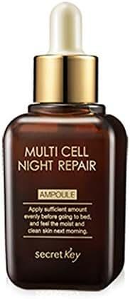 SECRET KEY Multi Cell Night Repair Ampoule 50ml - Plant Stem Cell Night Treatment Facial Serum, Rich Nutrition & Moisture, Skin Brightening & Anti-Wrikle Effect for Darkeness & Aging Skin