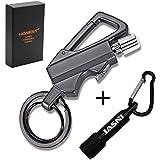 Keychain Multitool with Flint Metal Matchstick Fire Starter Bottle Opener Mountaineering buckle Mini Flashlight,Car Key Rings, Kerosene Refillable Lighter EDC Gift Ideas Emergency Survival Gear