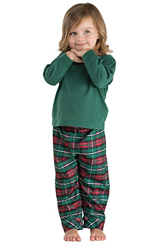 PajamaGram Holiday Plaid Flannel Christmas Pajamas, Red/Green, 3T
