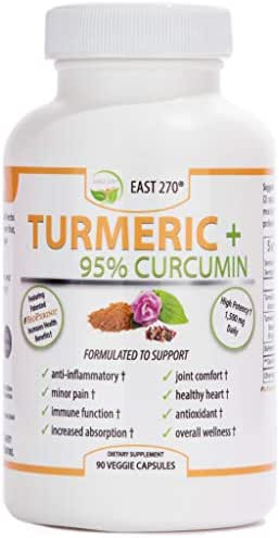 Turmeric Plus, 1500mg - with BioPerine® Black Pepper Extract for Advanced Absorption - Made in USA - 90 Veggie Capsules, Arthritic Relief, Joint Comfort, Pain Relief, Anti Aging Supplement