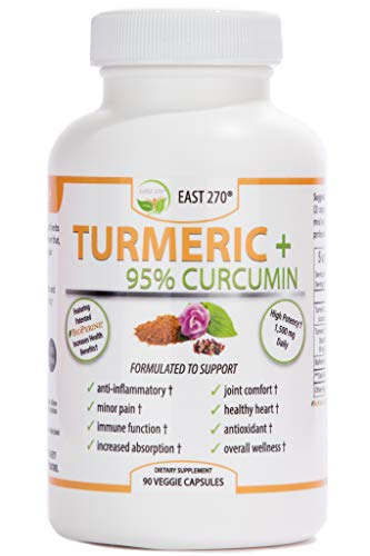 Turmeric Plus, 1500mg – with BioPerine Black Pepper Extract for Advanced Absorption – Made in USA – 90 Veggie Capsules, Arthritic Relief, Joint Comfort, Pain Relief, Anti Aging Supplement