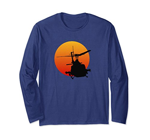 Unisex UH-1 Iroquois Huey Military Helicopter Long Sleeve Tee Large Navy (Collection Huey Vietnam)