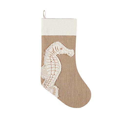 Coastal Appliqued Seahorse Icon Burlap Christmas Holiday -