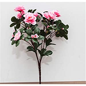 baisheng Artificial Flowers Rhododendron simsii Planch Silk Flower Party Festival Xmas Bouquets Home Wedding Decoration(6 Bunch-Pink)