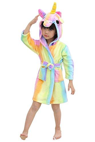 aec213191b JOXJOZ Kids Unicorn Hooded Bathrobes Flannel Robe Pajamas Animal Costume  Sleepwear for Girls and Boys