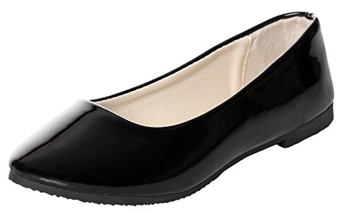 UJoowalk Womens Solid Pointed Toe Ballet Slip on Flat Shoes