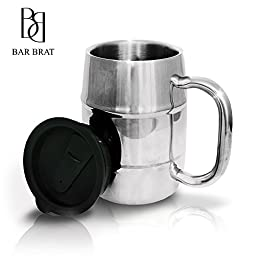 """Insulated Coffee Mug & Beer Mug by Bar Brat â""""¢ / 16.9 Oz. by Bar Brat: Forget Glass / Bonus Lid Included / Perfect Gift For Men / 110 Cocktail Recipe Ebook Included"""