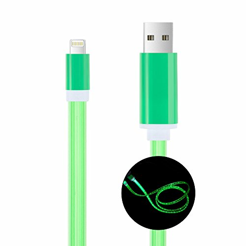 Bambud Flowing LED Light Up iPhone Charger Cable 3 ft USB Sync and Charging Cable Cord for iPhone X/8/7/7 Plus/6s/6s Plus/6/6 Plus/5s/5c/5/iPad/iPod (iOS Green)
