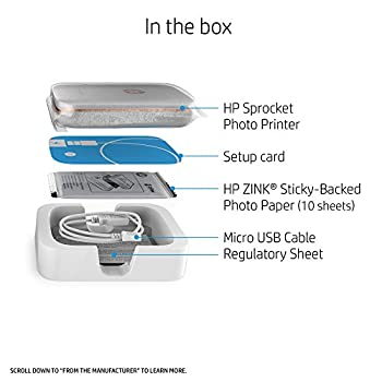Hp Sprocket Portable Photo Printer, X7n07a, Print Social Media Photos On 2x3 Sticky-backed Paper - White 6