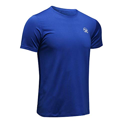 MEETWEE Men's Sport T-Shirt, Breathable Cool Dry Mesh Base Layer Tops Short Sleeve Running Top Training Tee Blue, X-Large