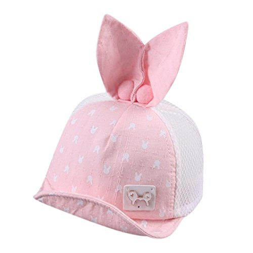 Tpingfe Cartoon Hat, Baby Toddler Boys And Girls Infant Summer Rabbit Ears Cap (Pink) (Curtain Beading)