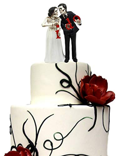 Ky & Co YK Day of The Dead Wedding Skeleton Bride & Groom Cake Topper Figurine Love Eternal