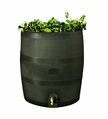 Rain Barrel Set - RTS Home Accents Round 35-Gallon Rain Barrel with Brass Spigot and Built-In Planter, Mud
