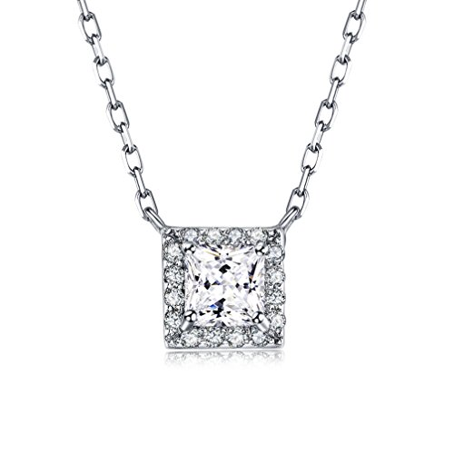 LicLiz Princess Cut Cubic Zirconia Halo Pendant Necklace Sterling Silver Square CZ Dainty Pendant Necklace for ()