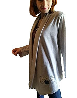 Womens Drapy Front Heather Grey Knitwear Jacket Wrap Small