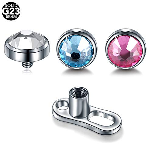 Xpircn 14G Titanium Dermal Anchor Top and Base 4mm Crystal Gem Surface Piercing (3PCS Tops and 1 PCS Base)