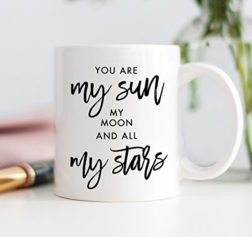 EE Cummings Quote Coffee Mug You are My Sun, My Moon and All My Stars Romantic Gift 11oz Ceramic Cup by Digibuddha - Women Cumming On Top