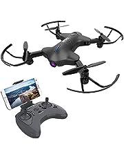ATOYX AT-146 Drone con Cámara, Mini Drone Plegable con App WiFi FPV 720 HD, Altitud Hold, Modo sin Cabeza, Una Tecla de Despegue y Aterrizaje de Gravedad RTF, Año, Negro